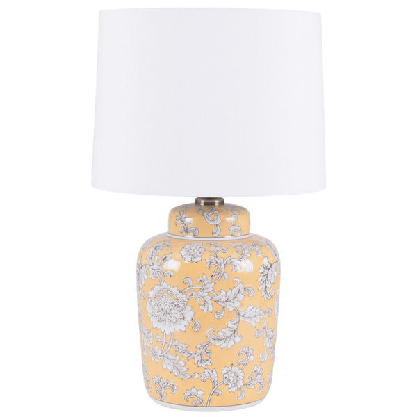 yellow and grey patterned  table lamp