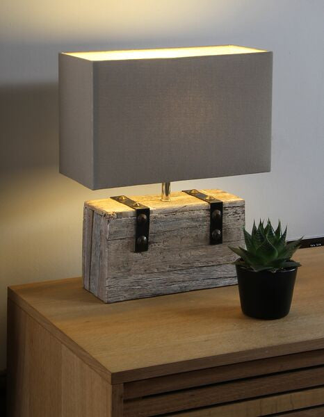 Wooden Block Table Lamp.