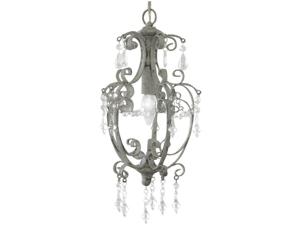 Wrought Iron and Glass Chandelier