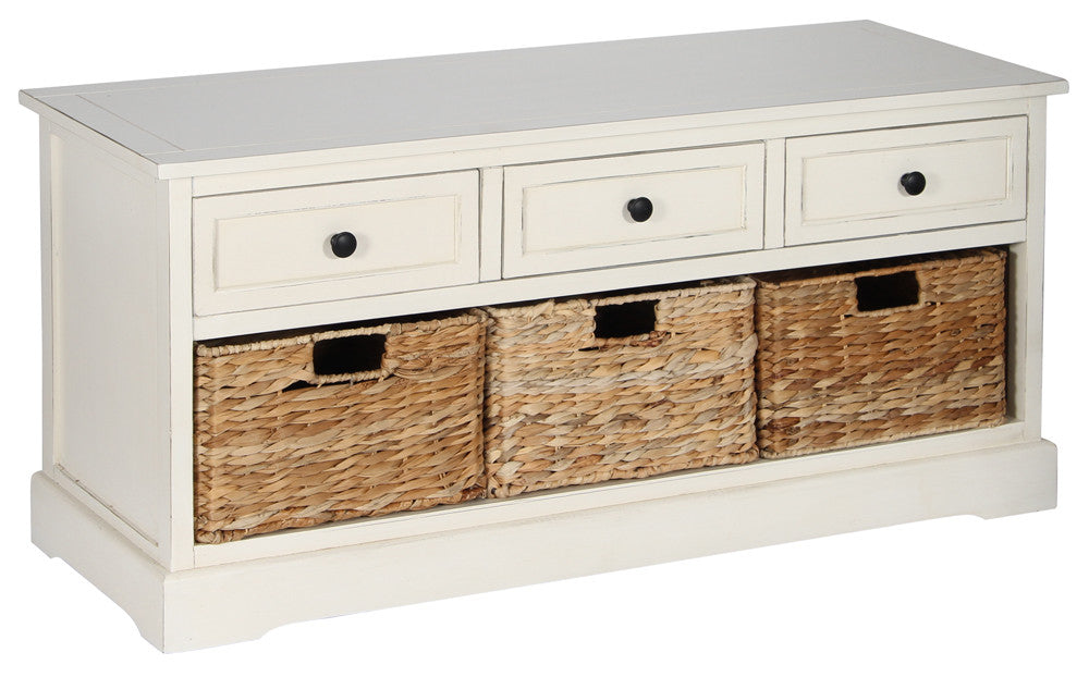 Low storage chest with seagrass drawers