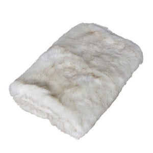 White snowy fur throw