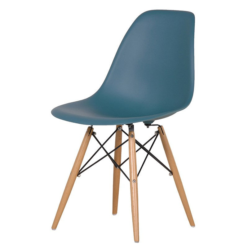 moulded blue chair with wooden legs