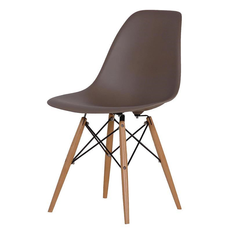 moulded mocha chair with wooden legs