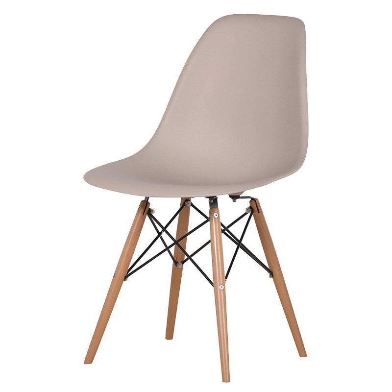 nude moulded chair with wooden legs