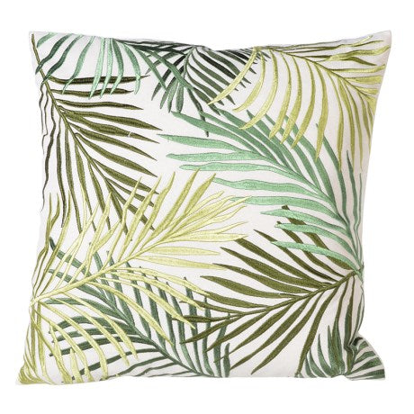 embroidered  green botanical cushion