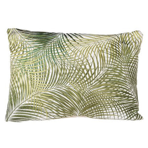 oblong embroidered  green botanical cushion