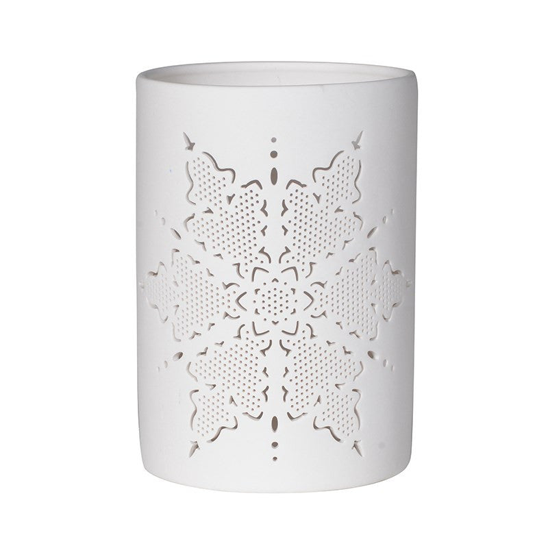 White china star candle holder
