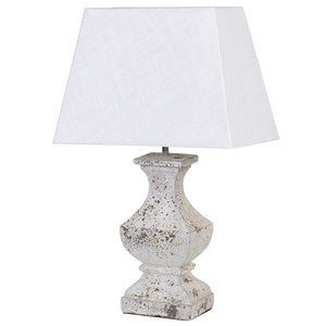 cream wooden lamp base and shade
