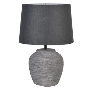 wooden style round rustic base with graphite coloured shade
