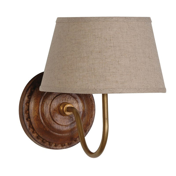 wooden wall light with linen shade