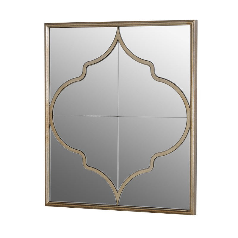 Square mirror with Venetian style metal pattern