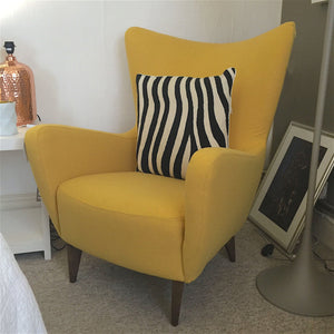 Yellow modern  wing armchair