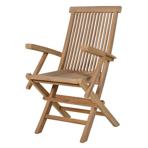 Steamer style folding teak chair