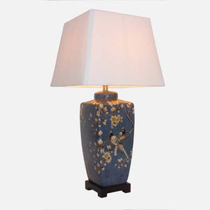 Blue Lamp with Birds