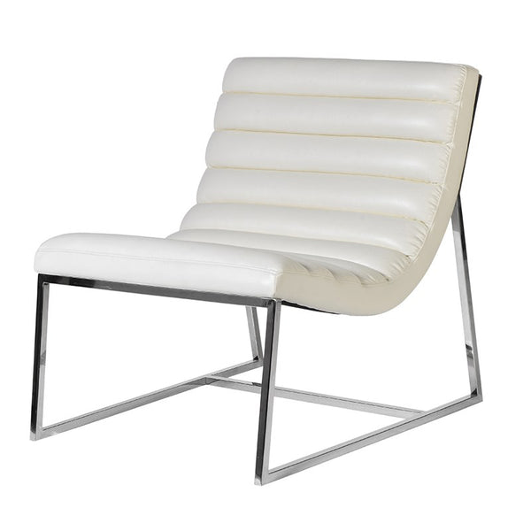 white leather slouch chair