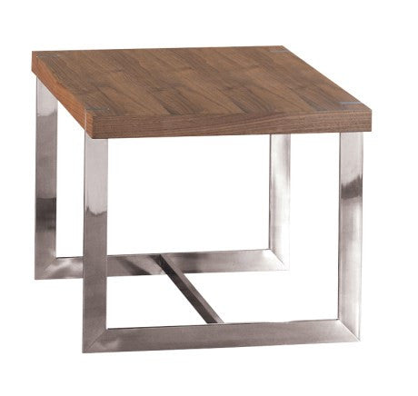 Wooden and Side Table Chrome