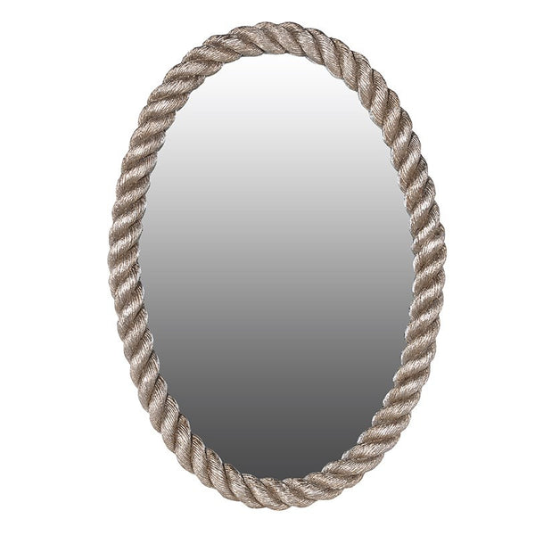 Antique Silvered Oval Rope Edged Mirror