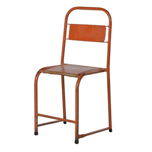 Vintage orange metal industrial dining chair