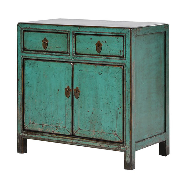 Turquoise cupboard with drawers