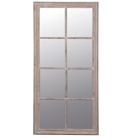 Large Taupe Window-pane Mirror