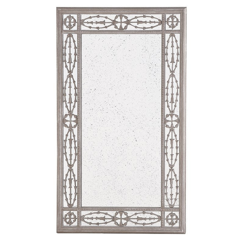 antiqued finished mirror with decorative frame
