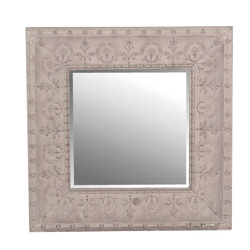 metal embossed mirror painted grey