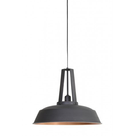 Wide Industrial Gunmetal and Copper Pendant Lamp