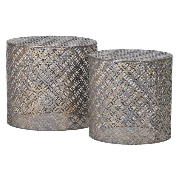 Set of 2 round metal side tables
