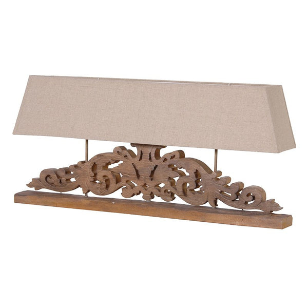 wooden carved base with linen shade