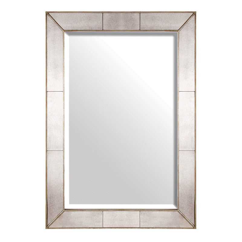large rectangle mirror with antique mirror sectioned frame