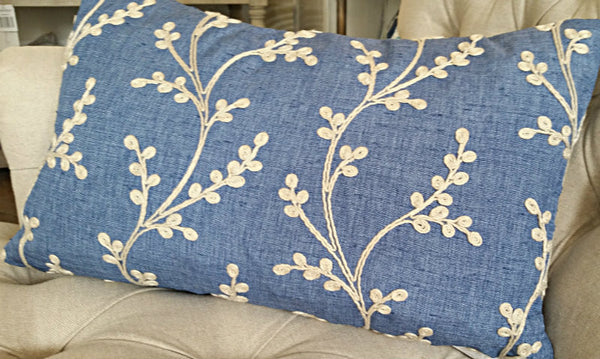 Blue Embroidered Cushion