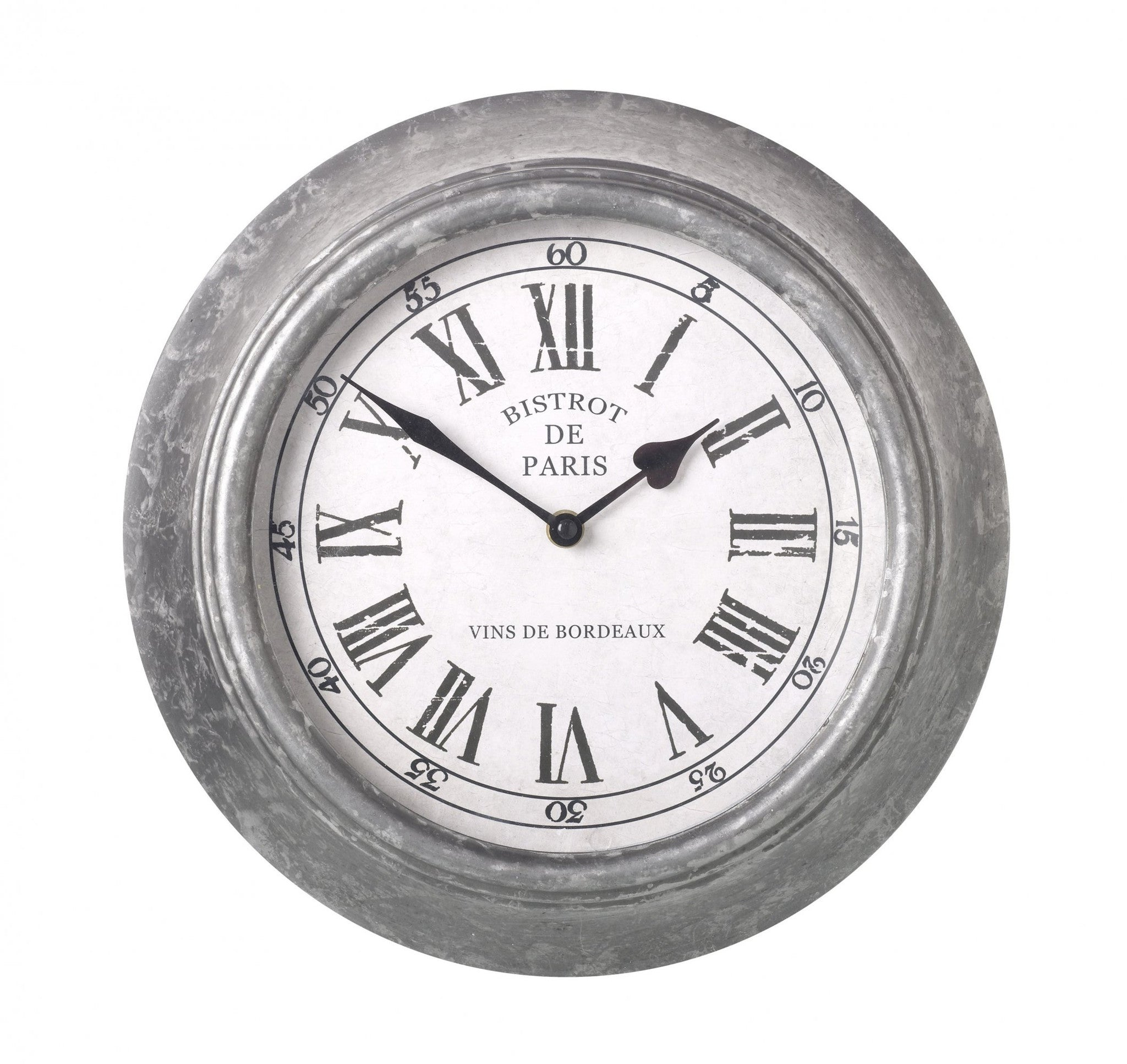 Grey Zinc Wall Clock