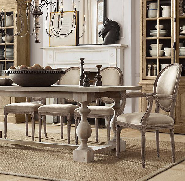 french linen chairs around a table