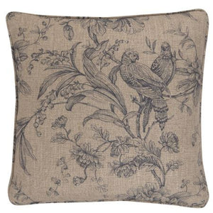 Soft Blue grey cushion with birds