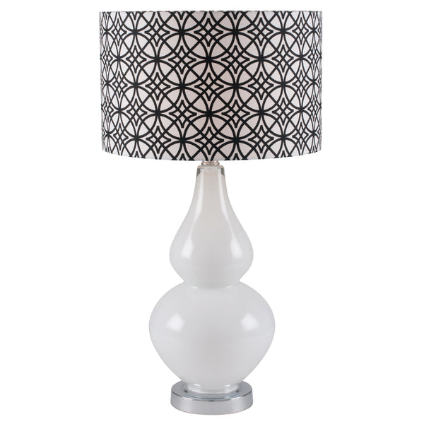 White glass lamp with pattern shade