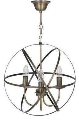 Antique Brass Sphere Cage Pendant Light