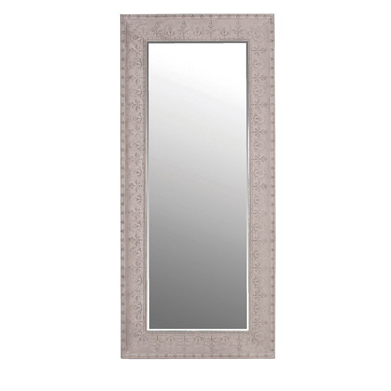 Tall Embossed Grey Wall Mirror