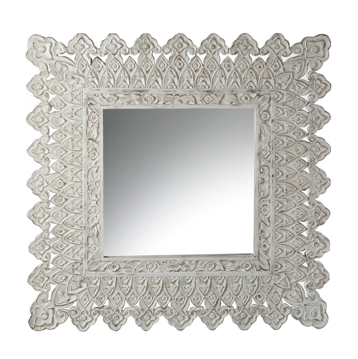 White carved edge mirror