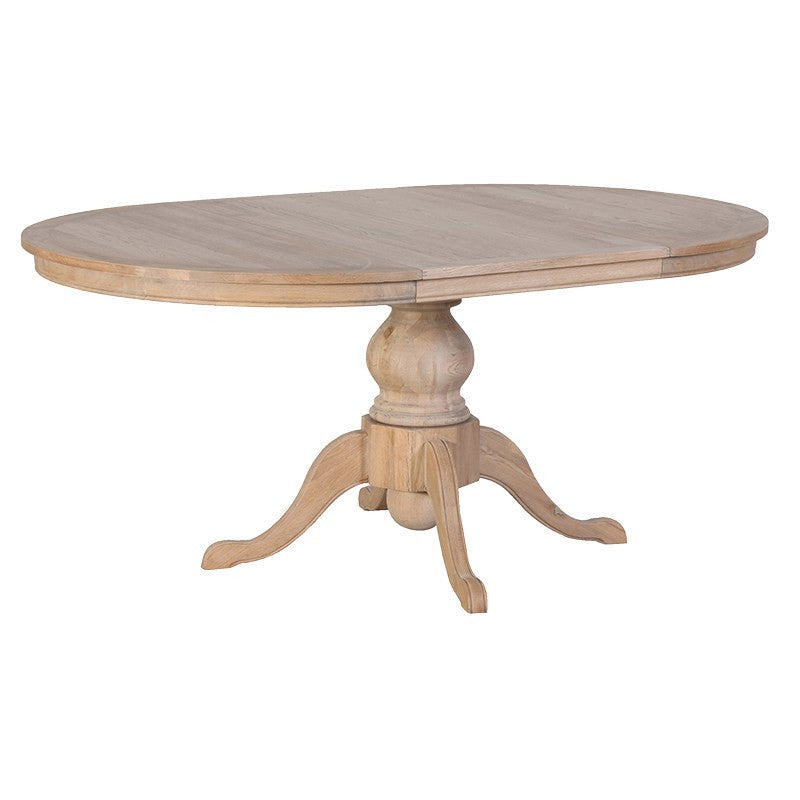 Solid Weathered Oak Extending Round Dining Table