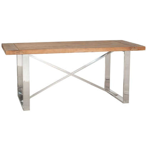Chrome and Pine Dining Table