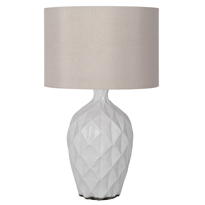 White ceramic table lamp base decor us this is the lamp shown 14 taupe drum style shade aloadofball Image collections