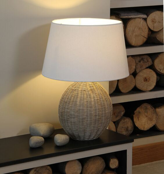 woven cane lamp base and shade.