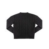 Cable Knit Thumbhole Sweater - Black
