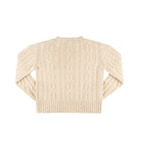 Cable Knit Thumbhole Sweater - Off-White
