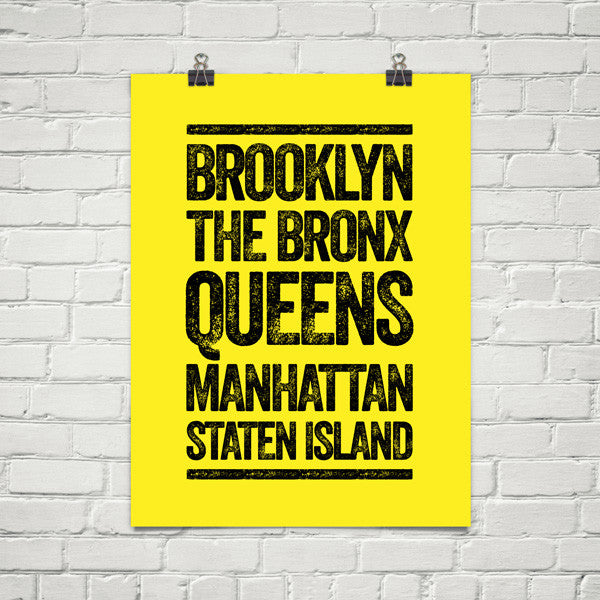 "5 Boroughs 18""x24"" Poster"