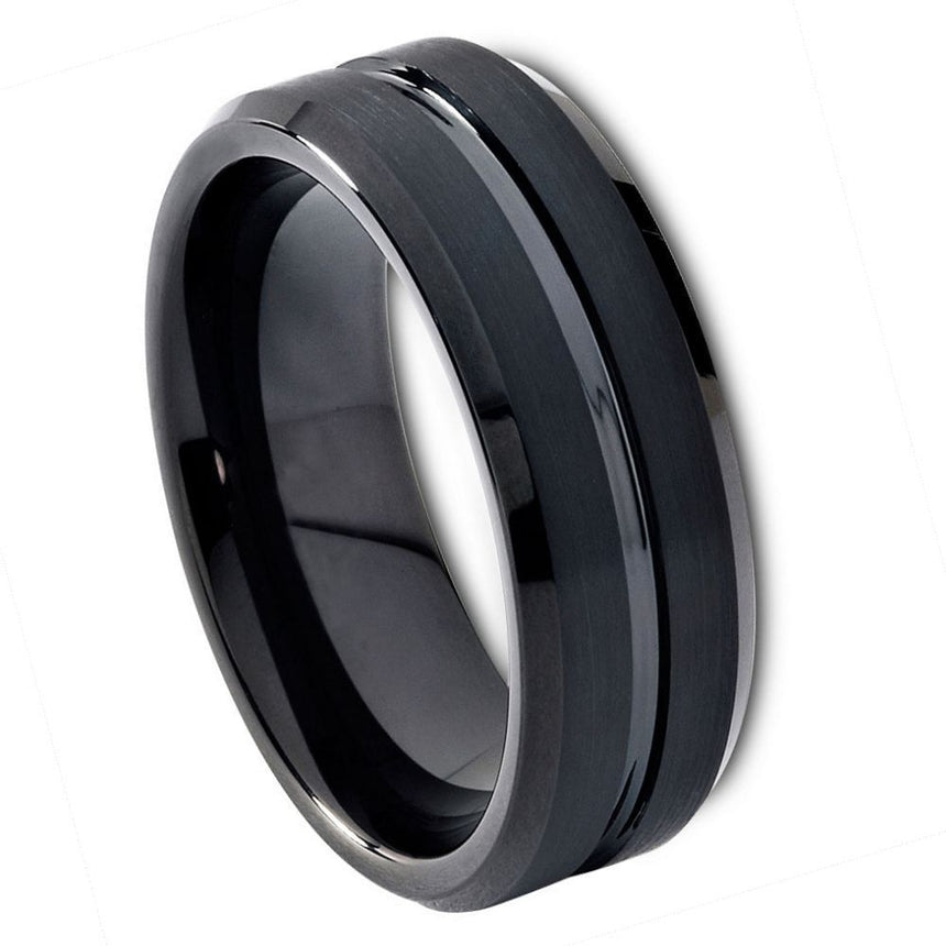 Tungsten Carbide Brushed Grooved Center Ring 8mm