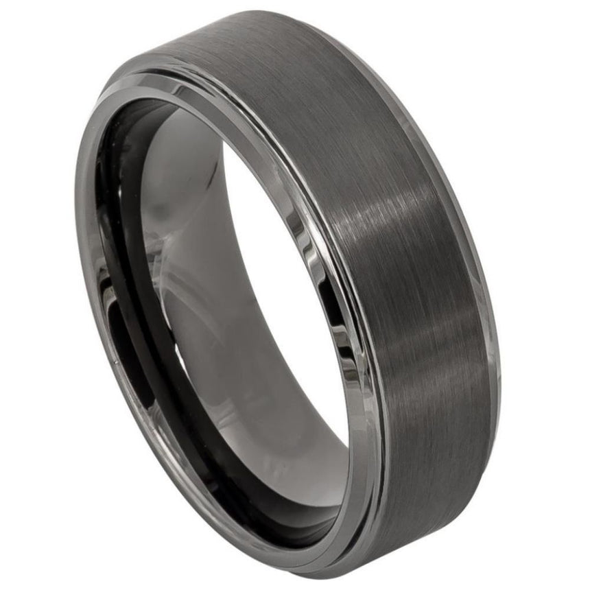 Tungsten Carbide Raised Brushed Finish Ring 8mm