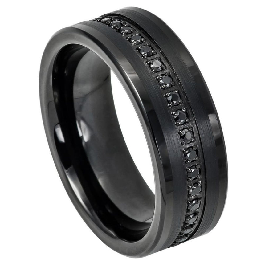 Tungsten Carbide Black Diamond Ring 8mm