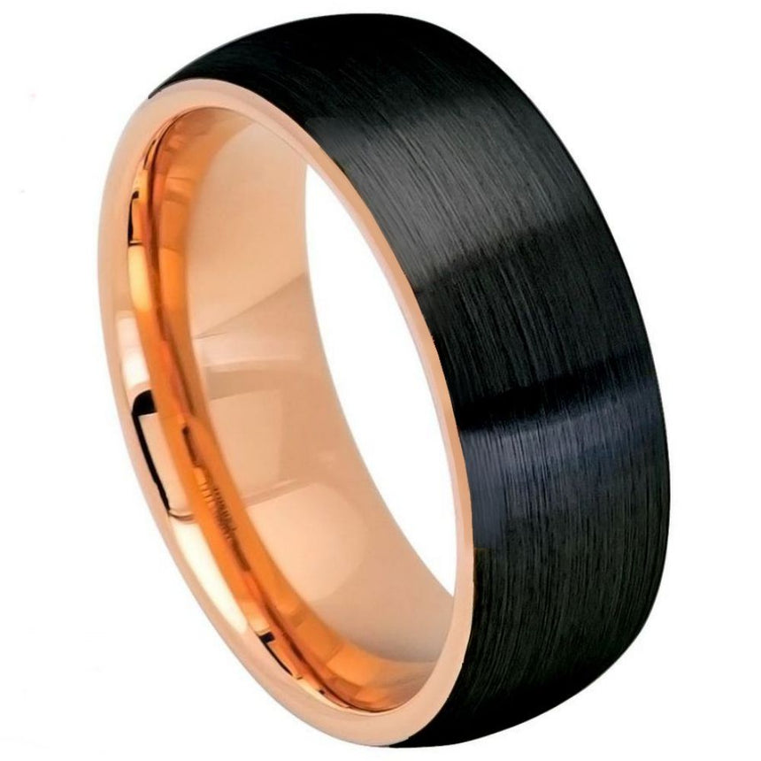 Tungsten Carbide Brushed Rose Tone Interior Ring 8mm