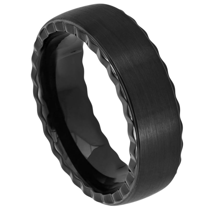 Tungsten Carbide Brushed Cut Edge Ring 7mm